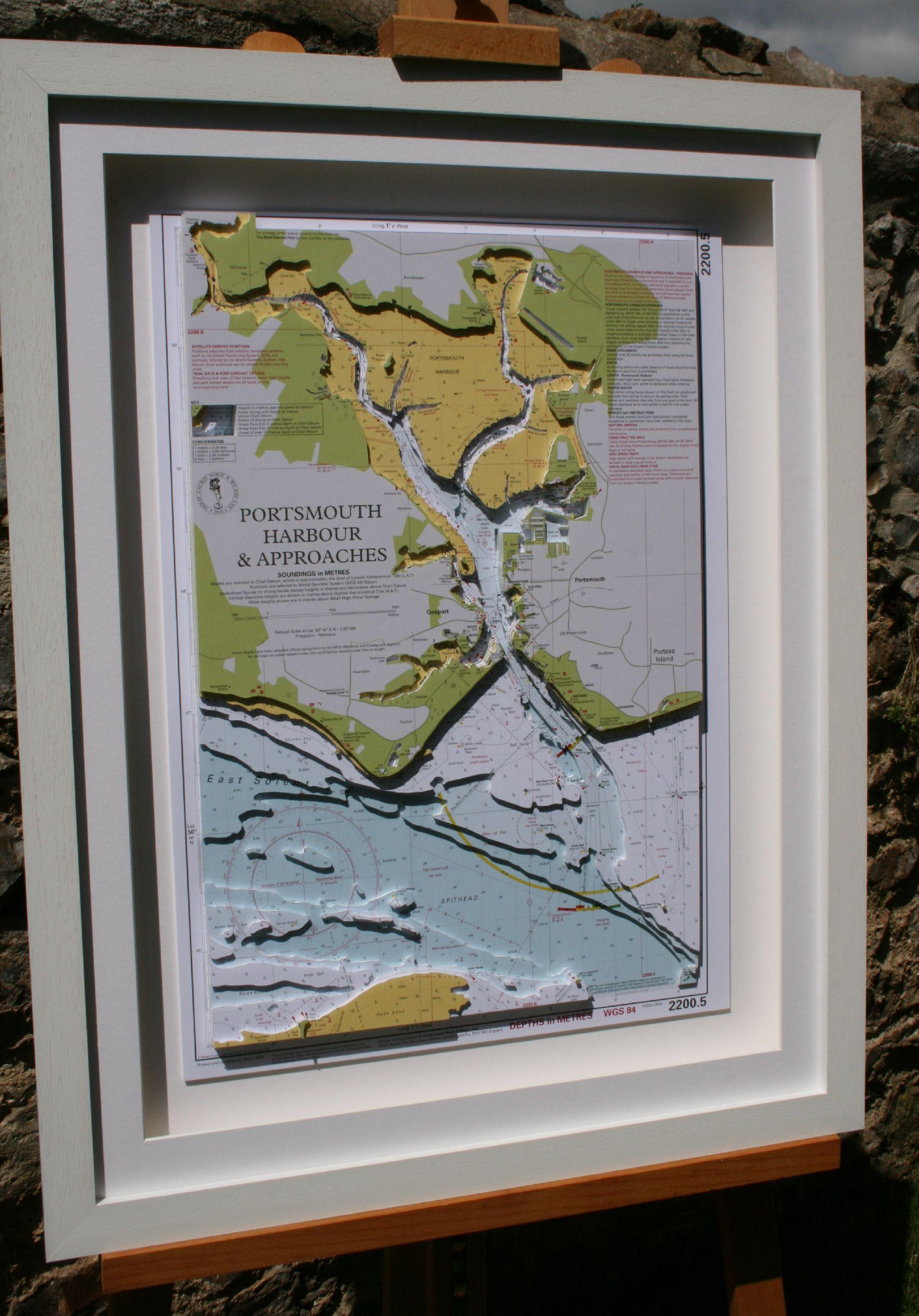 Hand cut coastal model of Portsmouth made from original Imray nautical charts