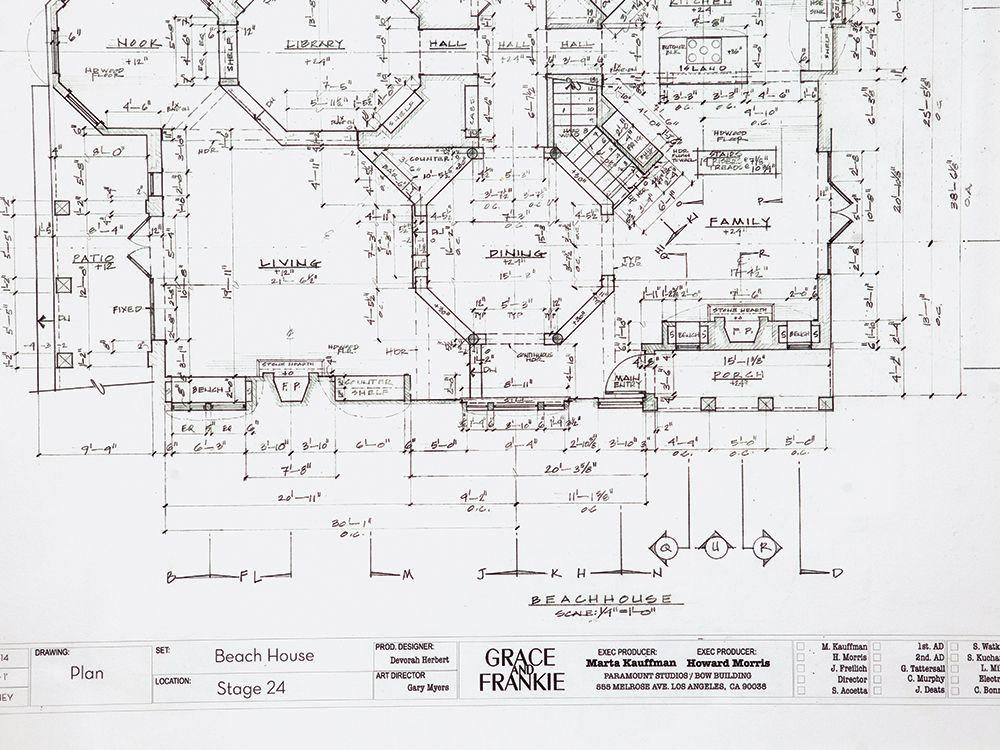 Inside Marta Kauffman S Grace And Frankie Office Beach House Floor Plans Floor Plans House Floor Plans