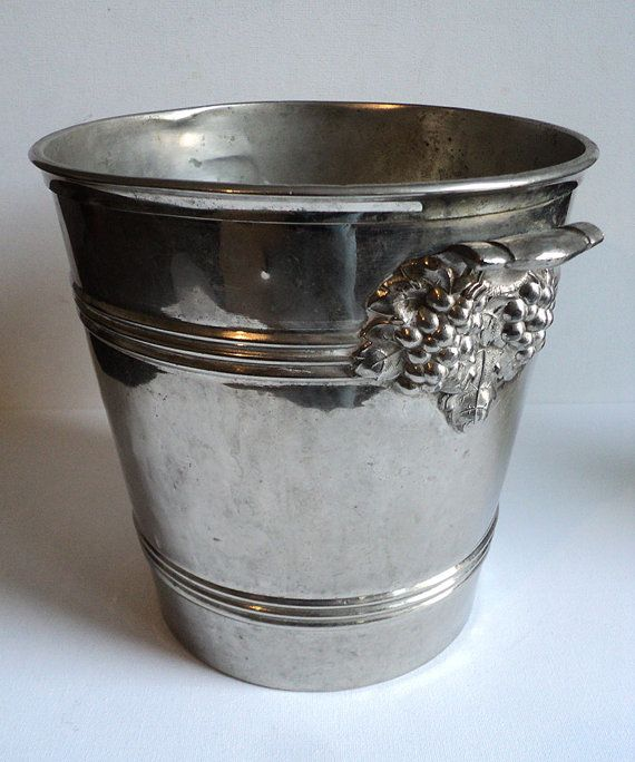 French Champagne Ice Bucket, Wine Bucket,  French Cooler, Decorative Handles Vine Leaves & Grapes, Champagne Collectible