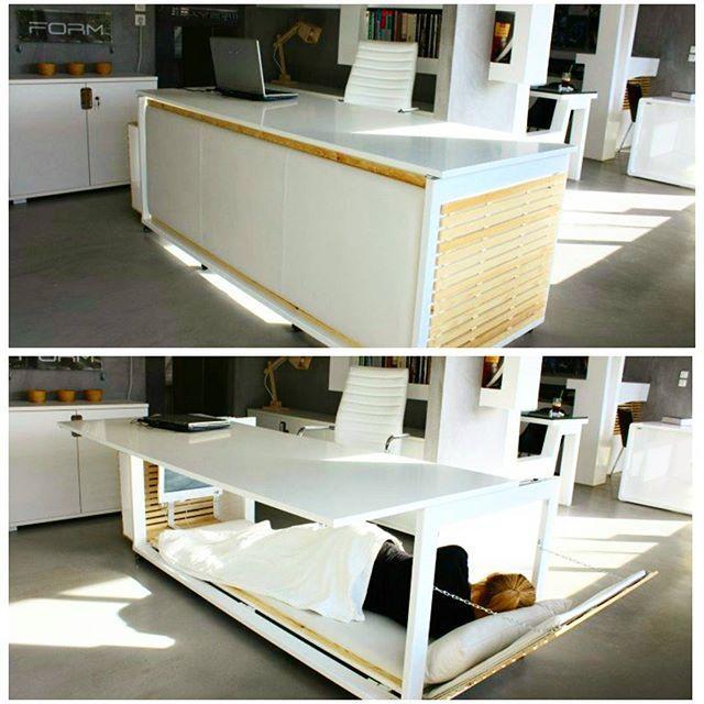 Office desk cum bed designed by Athanasia Leivaditou.  #DESIGNERSDOME #India #interiordesigner #interiordesigners #architect #architects #office #work #sleep #wood #furniture