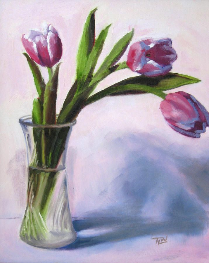 Three Tulips In A Vase By Tracy Wall In 2020 Tulip Painting