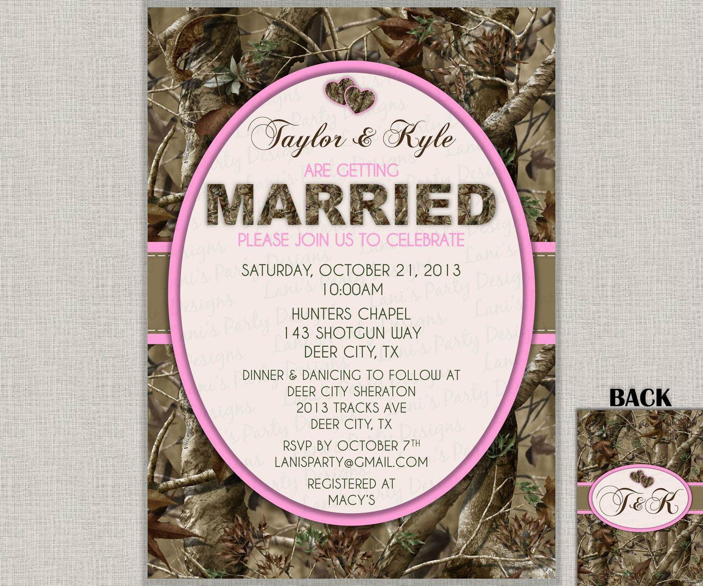 Camo Wedding Invitation   Invites Hunting Camouflage Orange Pink Purple  Green   Two Hearts Double Sided DIY Printable JPEG PDF