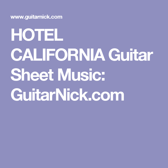best Hotel California Guitar Chords Tutorial image collection