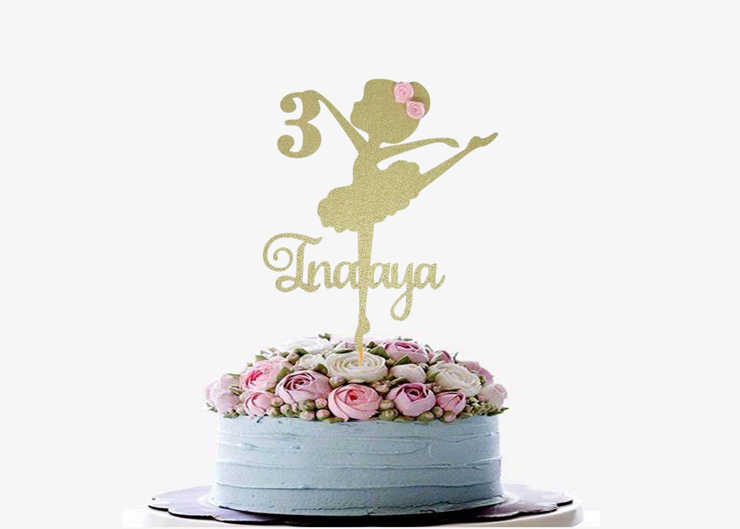 Personnalisé Filles Ballet Chaussures Birthday Cake Topper rose princesse danseuse