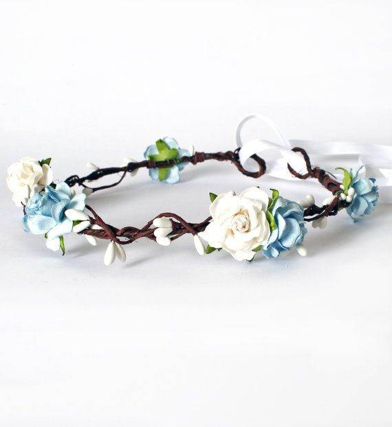Pretty Floral Halo made with Mulberry Paper Roses in pale blue and off white…