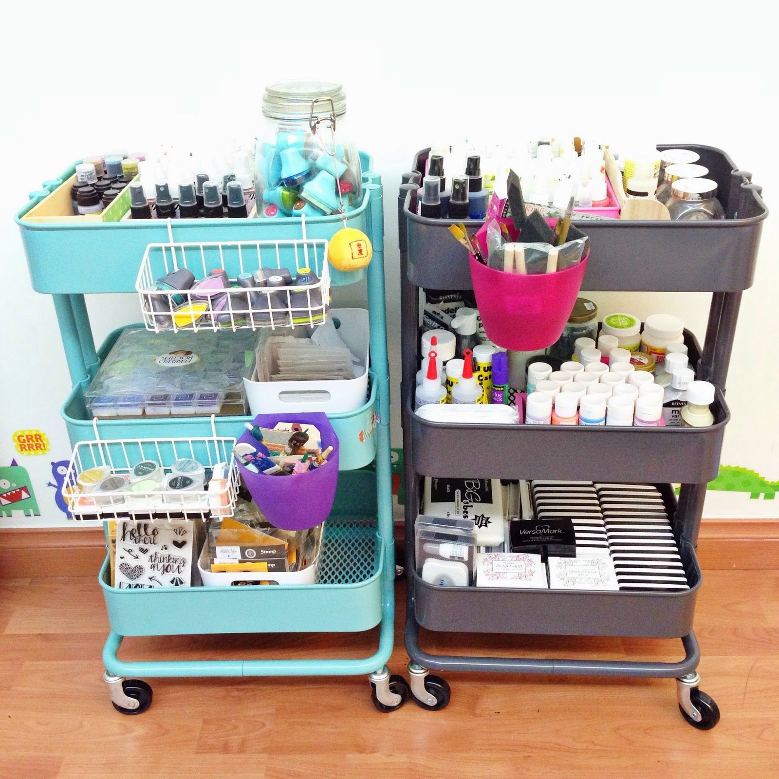 Two IKEA Raskog carts that acts as crafts storage - DigsDigs