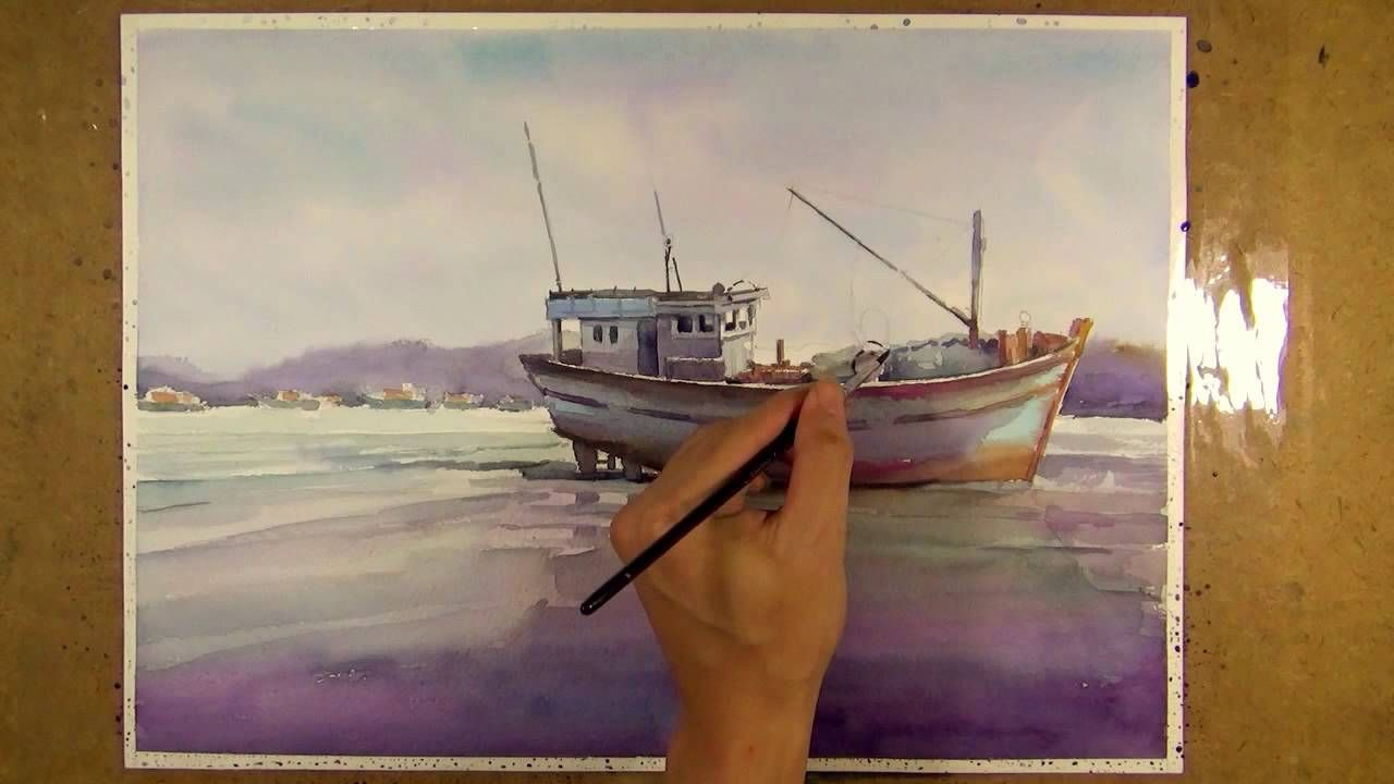 Watercolor Painting Fishing Boat On The Beach Watercolor