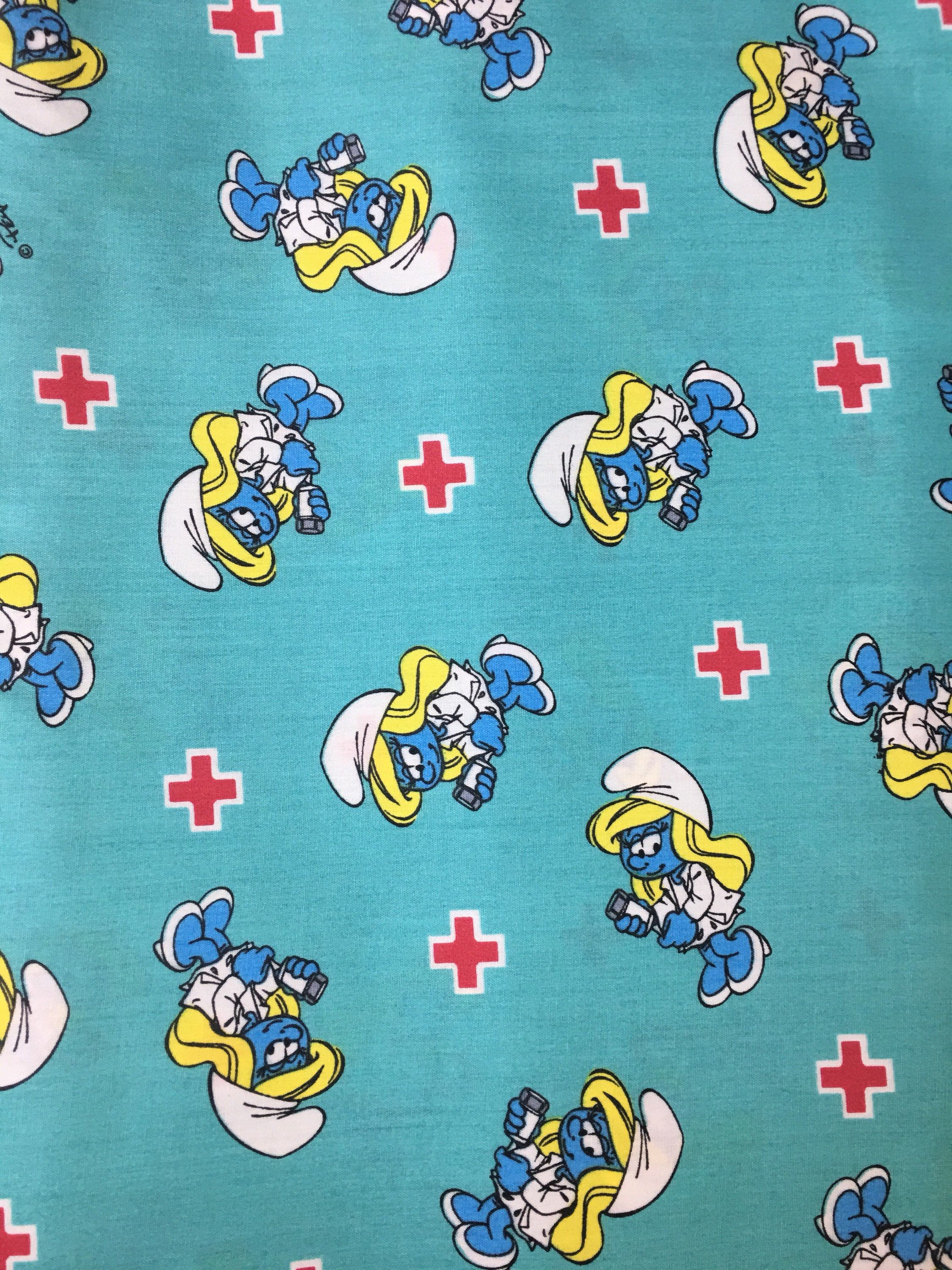 New Smurfette Fabric  1//2 yd Rainbow and Hearts//from Smurfs
