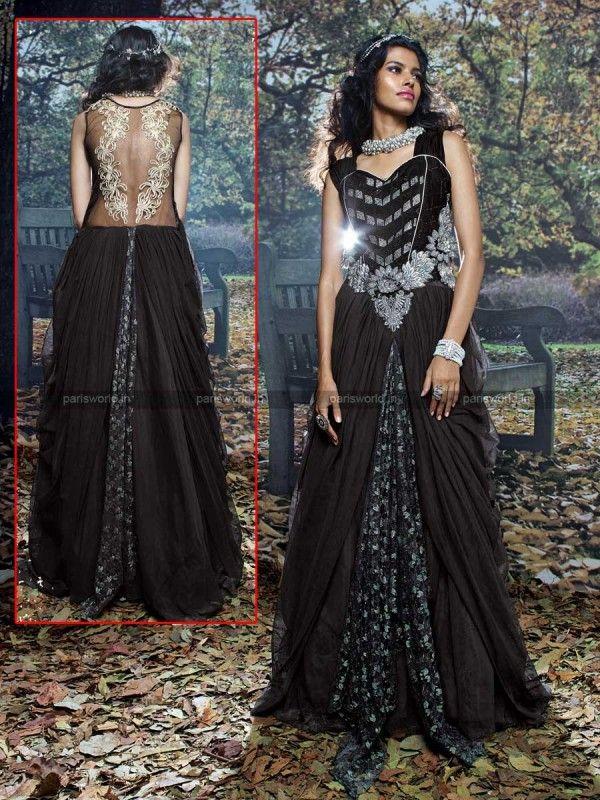 Black Net Dazzling Designer Evening Gown | Indo Western Gowns ...