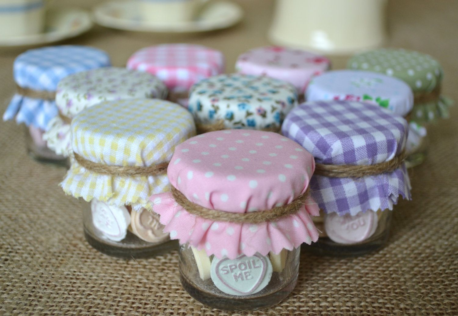 Love Heart Jar Favours 10 Mini Pretty Pastel Candy Jars With Shabby Chic Covers