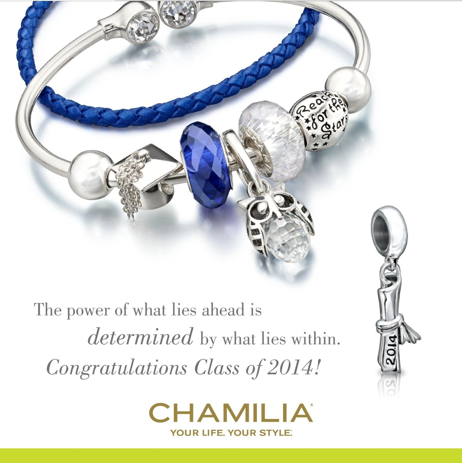 A Beautiful Graduation Themed Chamilia Bracelet Featuring The Wise Owl Charm,  The Graduation Cap And