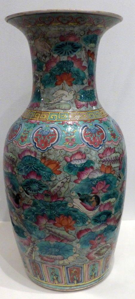 ancien vase chinois d cor canards oiseaux fleurs poissons 19 me chine antique porcelaine. Black Bedroom Furniture Sets. Home Design Ideas