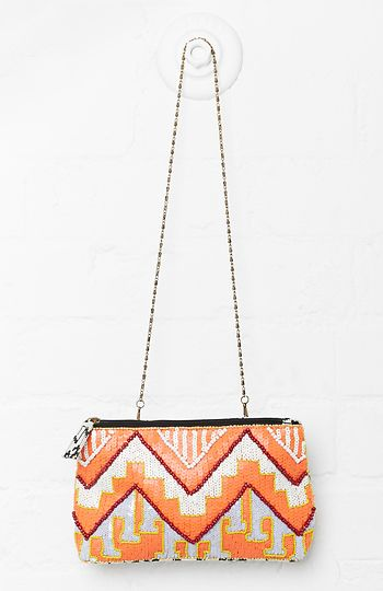 Tribeca Beaded Clutch in Coral | DAILYLOOK