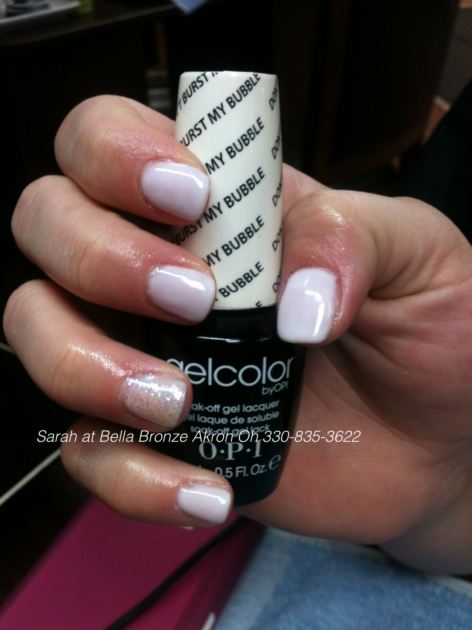 Opi Gelcolor Don T Burst My Bubble With Glitter Accent Nail Opi Gel Nail Colors Opi Gel Nails