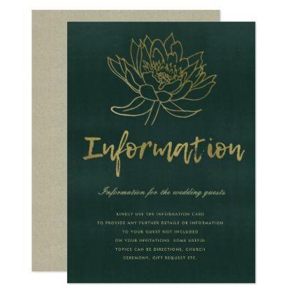 GLAMOROUS GOLD DARK GREEN LOTUS FLORAL INFORMATION CARD - bridal shower gifts ideas wedding bride