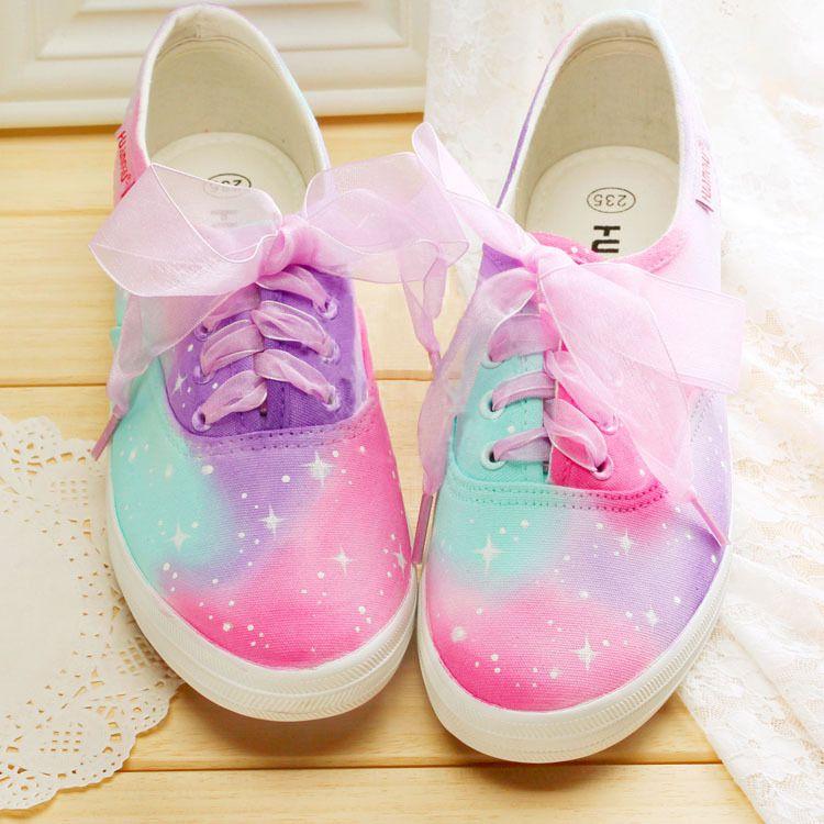 27e5fb42e9e2 Harajuku Rainbow Star Canvas Shoes · Cute Kawaii {harajuku ...