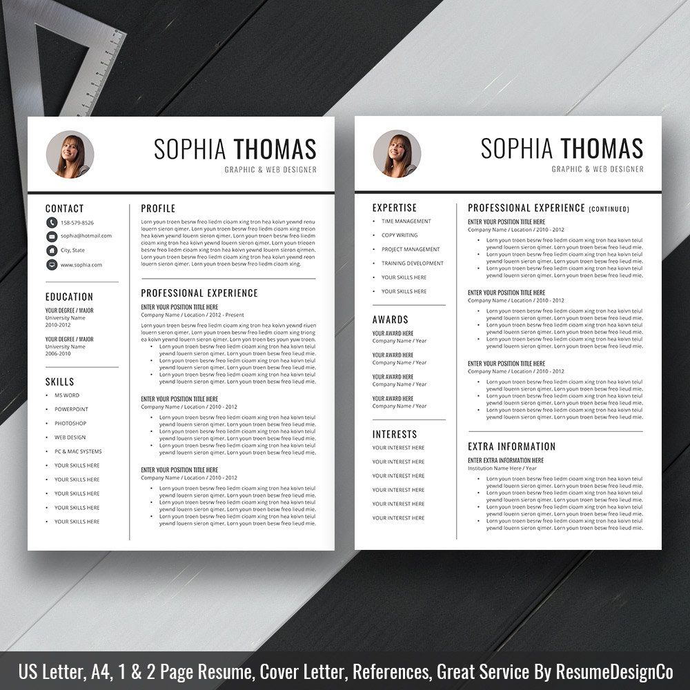 2020 Simple Resume Template Word, Modern CV Template