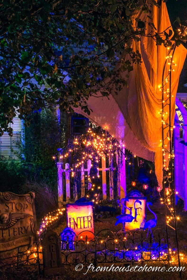 11 Ways To Create Spooky Halloween Lighting | Halloween 2018 ... Nighttime Halloween Yard Lighting Ideas on halloween home decorations, halloween props, halloween haunted house ideas, haunted house lighting, diy yard lighting, iron wall lighting, halloween homemade scary decorations, halloween board ideas, farm yard lighting, halloween led lights, decorative yard lighting,