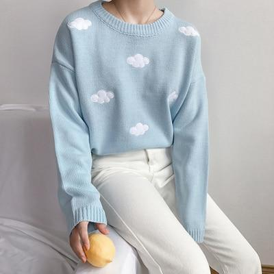 2018 Women'S Kawaii Ulzzang Vintage College Loose Clouds Sweater Female Korean Punkwwetoro #kawaiiclothes Gender: Women Sleeve Style: Regular Thickness: Standard Collar: O-Neck Item Type: Pullovers Technics: Computer Knitted Style: Preppy Style Material Composition: Acrylic Material: Polyester,Cotton,Acrylic Sleeve Length(cm): Full Brand Name: wwetoro Model Number: FV201 Decoration: None Clothing Length: Regular Pattern Type: Geometric Closure Type: None