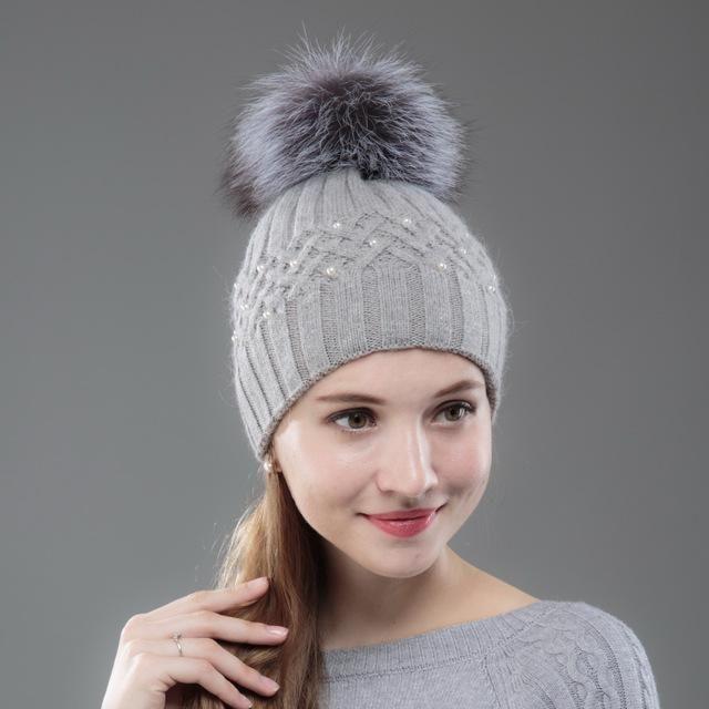 63f8115ae OHCOXOC New Women Beanies Real Fox Fur Pom Poms Ball Cap Keep Warm ...