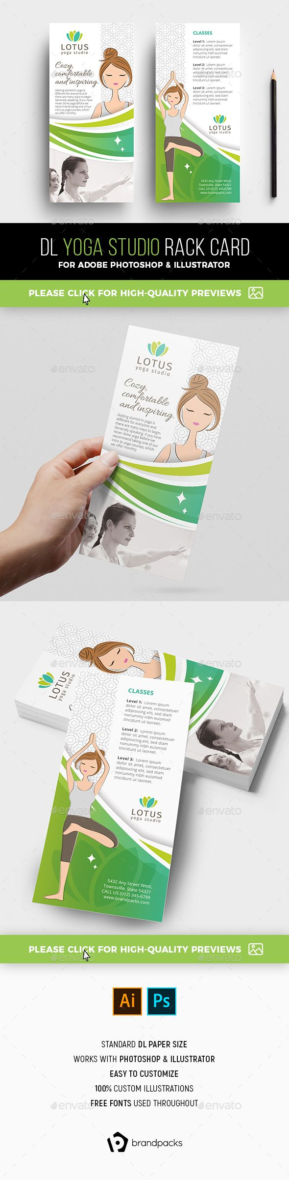 Yoga Studio Rack Card Template  Sports Events  Event Flyer