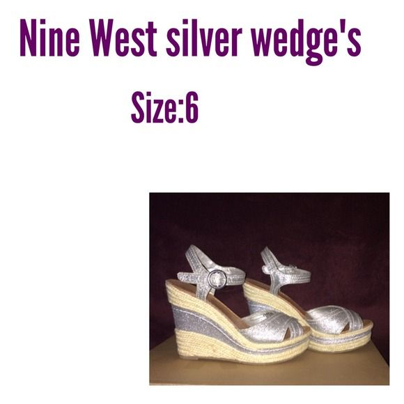Silver Nine West Wedge's✔️ These have been worn about time so they are in almost new condition their May be a couple little marks but not at all noticeable. I saw these selling on eBay for $80 Nine West Shoes Wedges