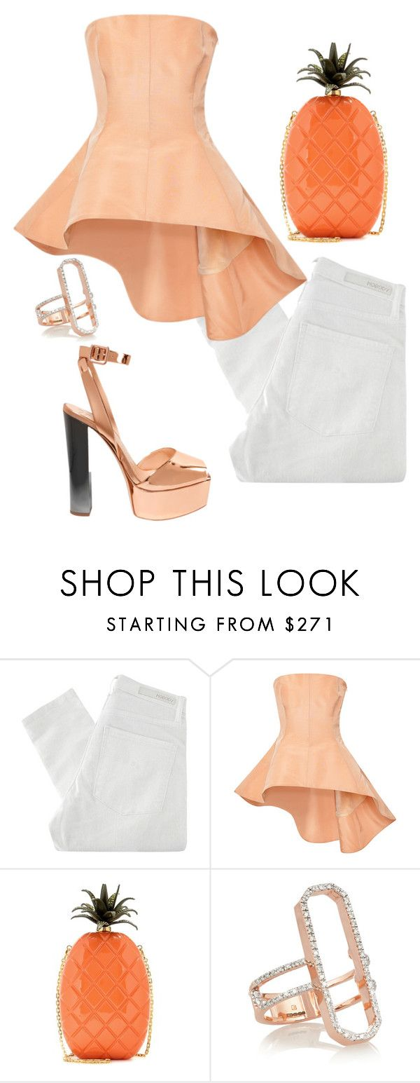 """""""Untitled #4655"""" by stylistbyair ❤ liked on Polyvore featuring Nobody Denim, Rosie Assoulin, Valentino, Monica Vinader and Giuseppe Zanotti"""
