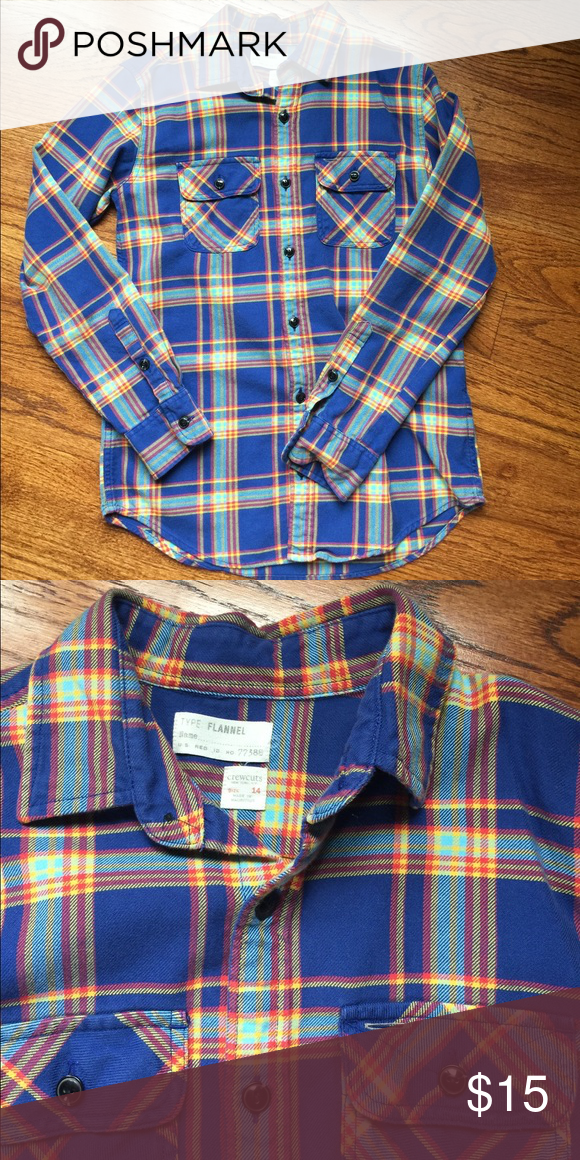J. Crew Crewcuts Cotton Button Down Shirt J. Crew Crewcuts Plaid Cotton Flannel Button Down Shirt.  Excellent Condition.   Smoke free and pet free home. J. Crew Shirts & Tops Tees - Long Sleeve