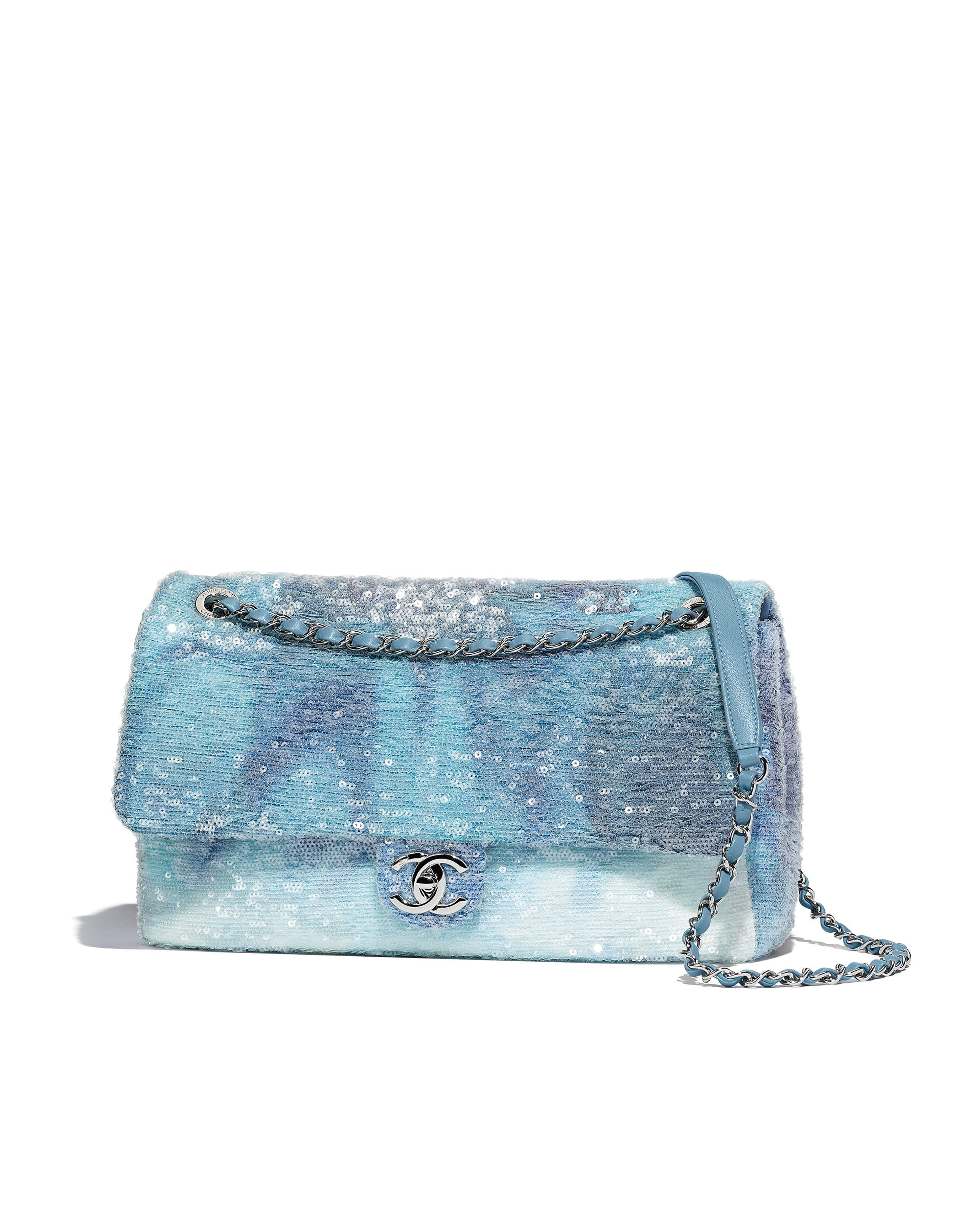 25f4a11202a00a Chanel - SS2018 | Light blue, blue & turquoise sequin flap bag ...