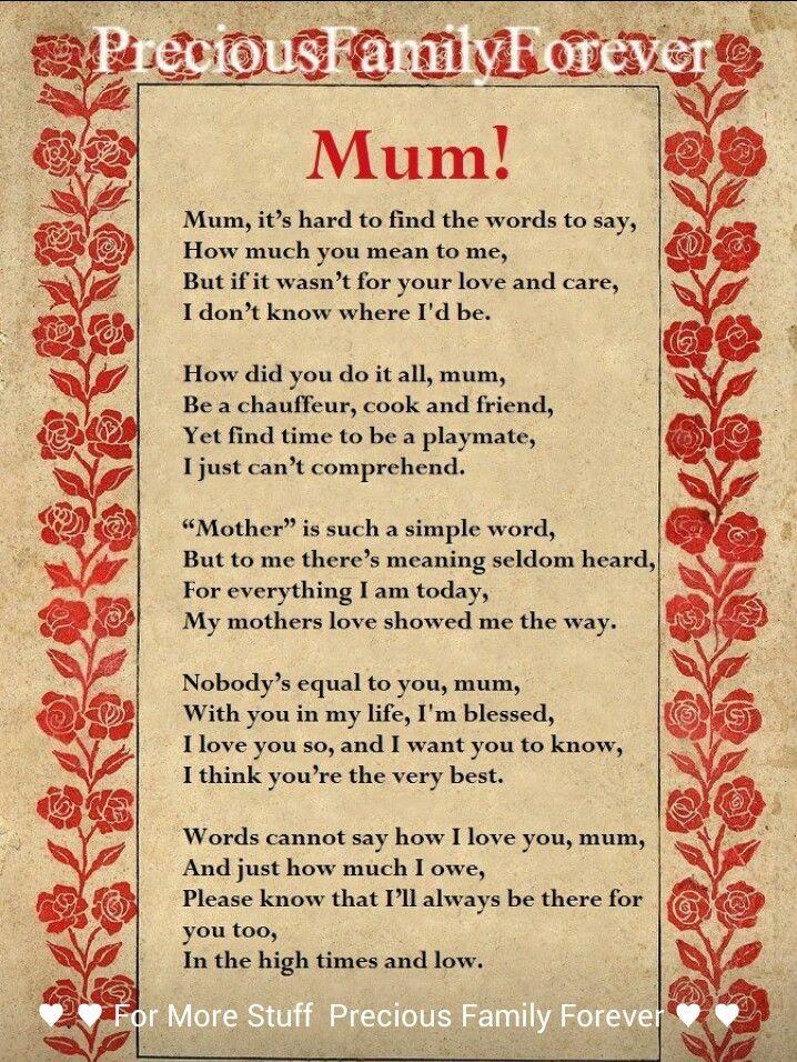 Mum Poem