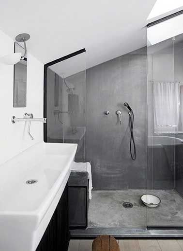 b ton cir sur carrelage gris dans douche italienne house. Black Bedroom Furniture Sets. Home Design Ideas