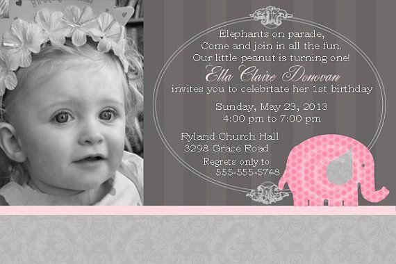 Pink Elephant Printable Invitation for Birthday by BeeAndDaisy, $12.00
