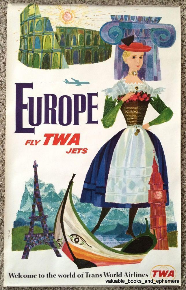 Original David Klein TWA Poster * Europe * Vintage Airline Travel Rome Paris
