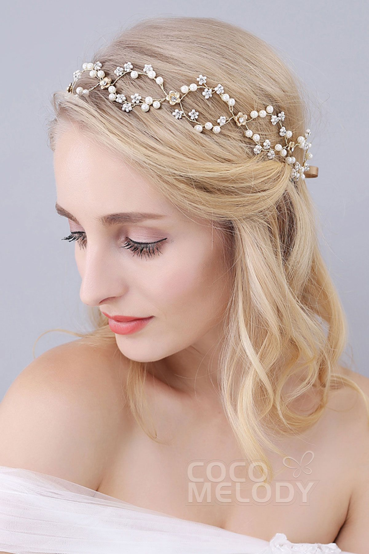 perfect gold alloy wedding headbands with rhinestone imitation pearl