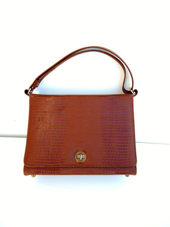 357602fbcb00 Vintage RISQUE Handbag Faux Lizard Brown