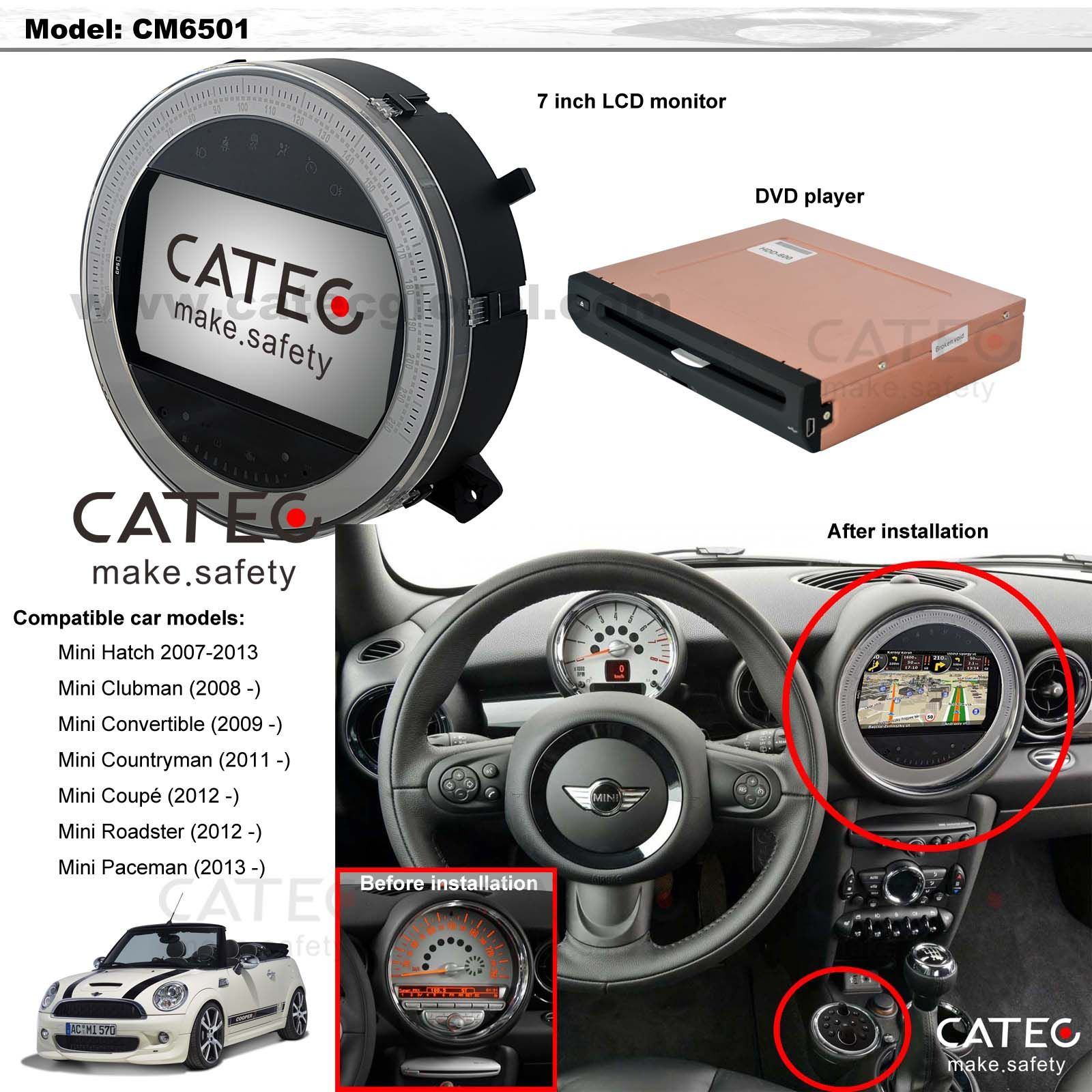 Installation effect of car accessories for mini cooper car gps navi head unit