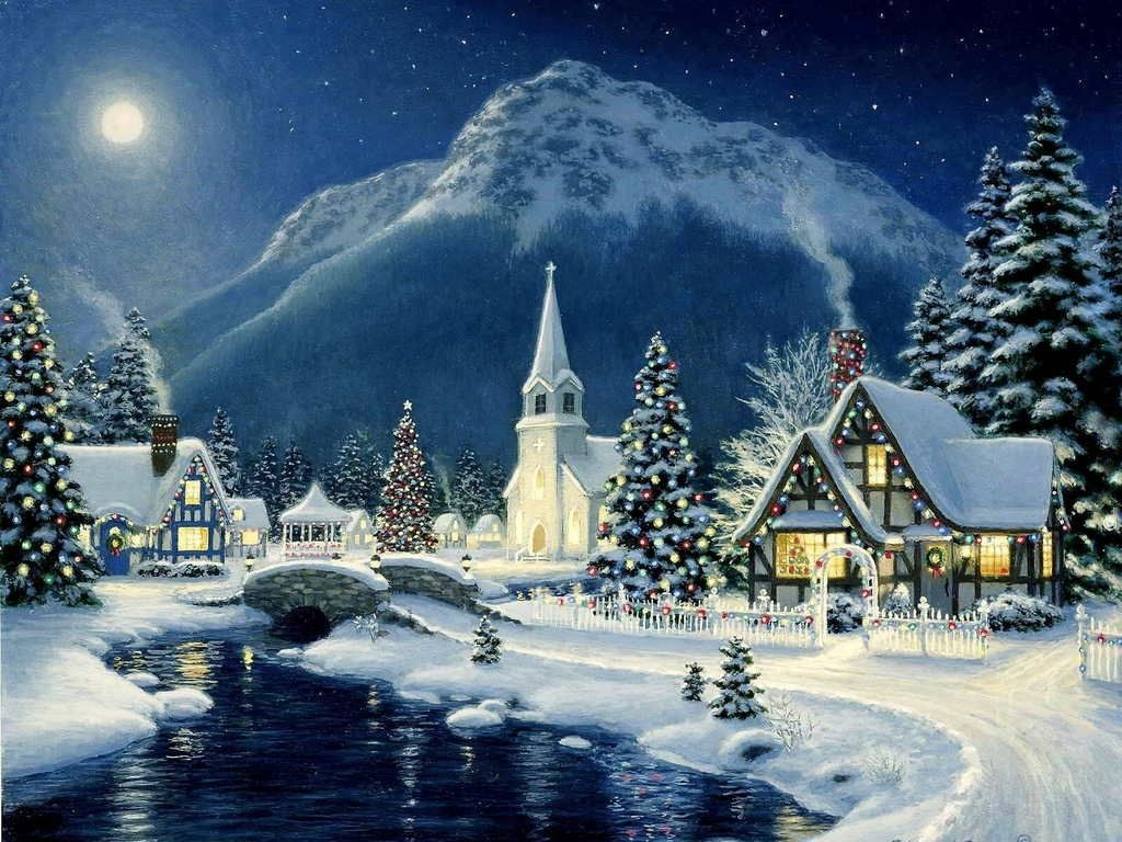 Christmas Images Beautiful Christmas Scene Hd Wallpaper And Within Background Wallpaper Christ Christmas Landscape Christmas Scenery Thomas Kinkade Christmas