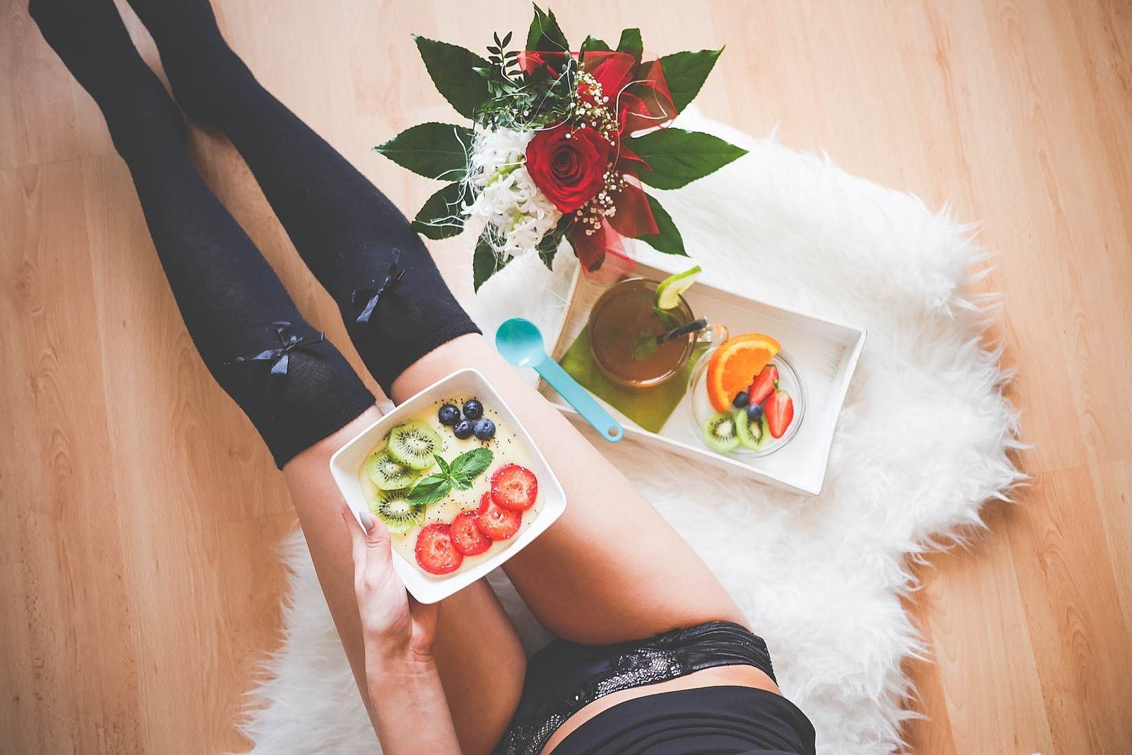 Young Woman with Her Morning Fresh & Healthy Breakfast Free Stock Photo