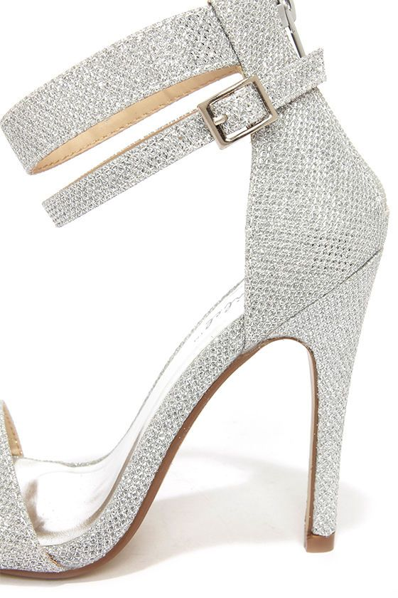 033ffb53a26 Lupid 2 Silver Glitter Ankle Strap Heels