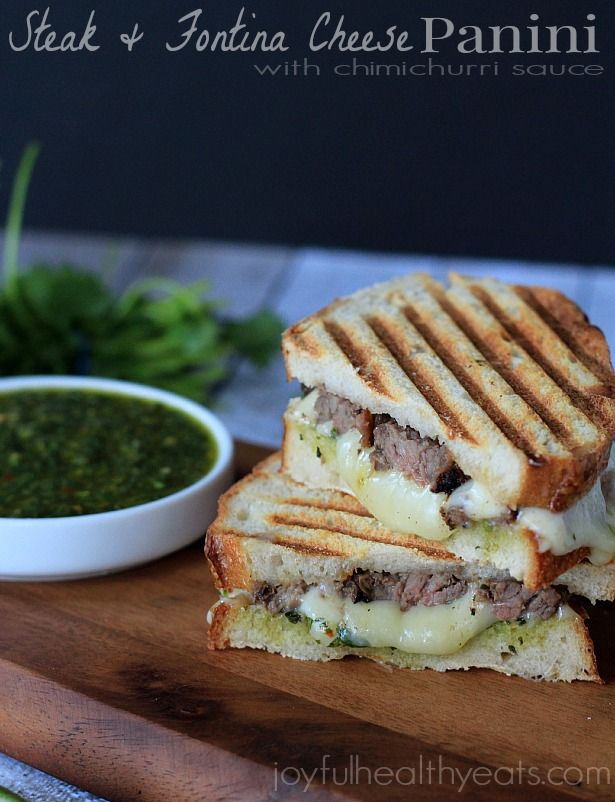 Steak & Cheese Panini with chimichurri sauce  Make with gluten free bread and goat cheese.  LOVE the homemade chimichurri sauce!!!  This sounds lovely!  I think I'll make it tonight!
