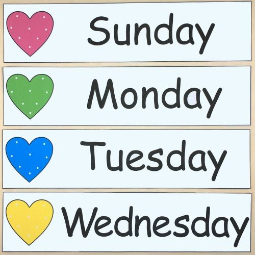 days of the week and months of the year for preschool and kindergarten