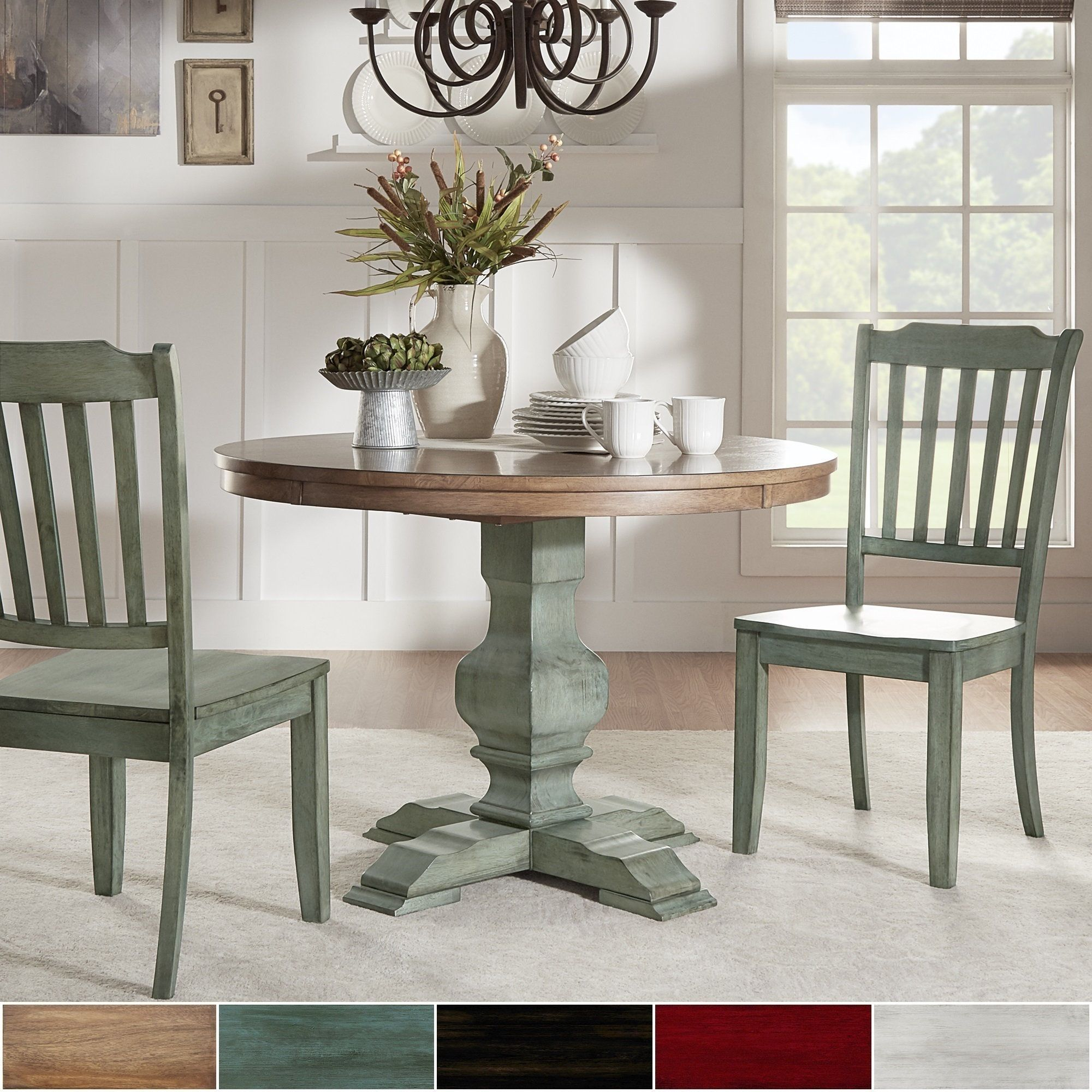 Eleanor Oak And Aqua Solid Wood Round Table 3 Piece Dining Set Slat Back By Tribecca Home