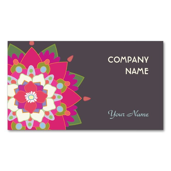 Colorful lotus mandala health and wellness business card lotus colorful lotus mandala flower cute double sided standard business cards pack of 100 make your own business card with this great design reheart Image collections