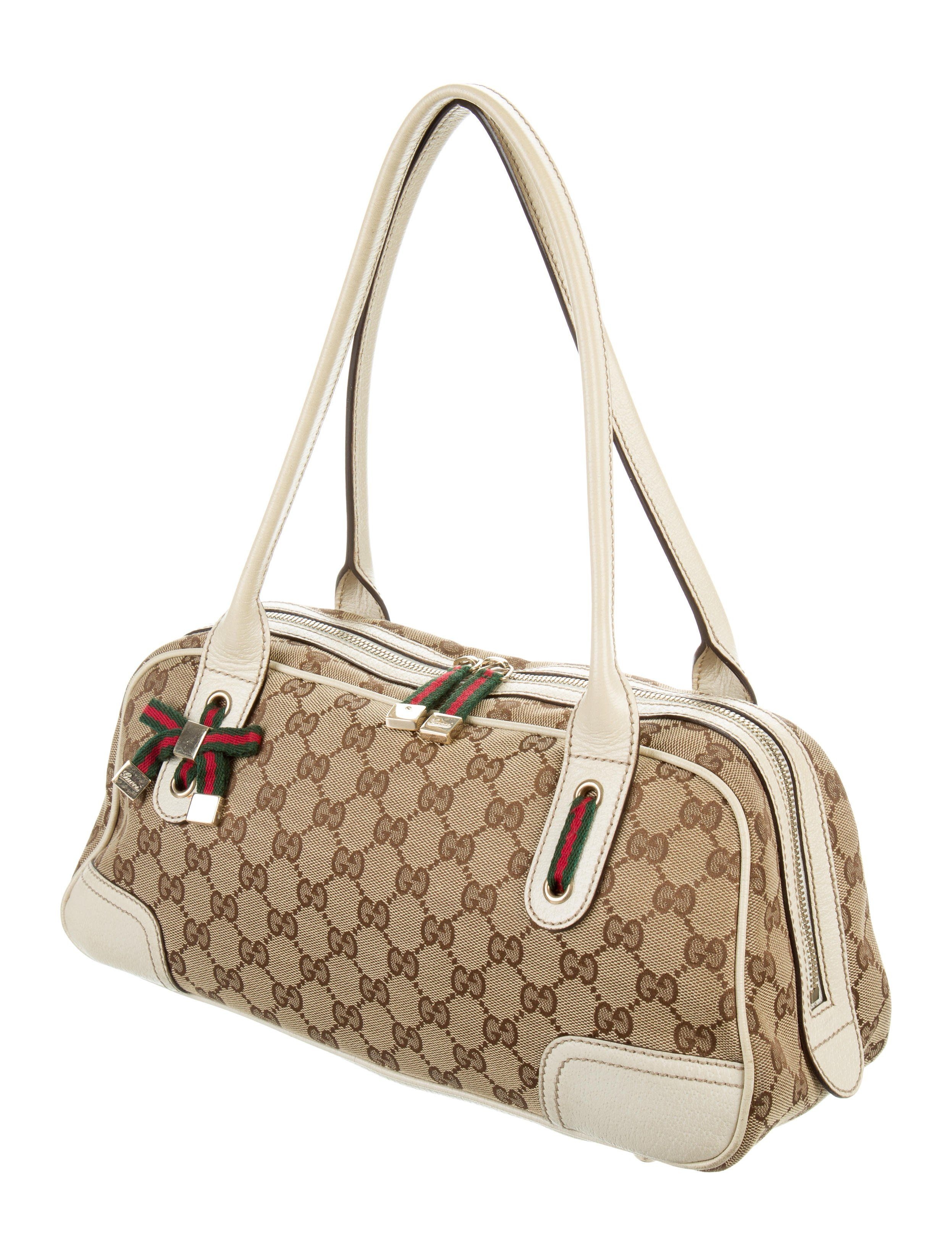 70c05a03b457 Brown and tan GG canvas Gucci Princy Boston bag with gold-tone hardware
