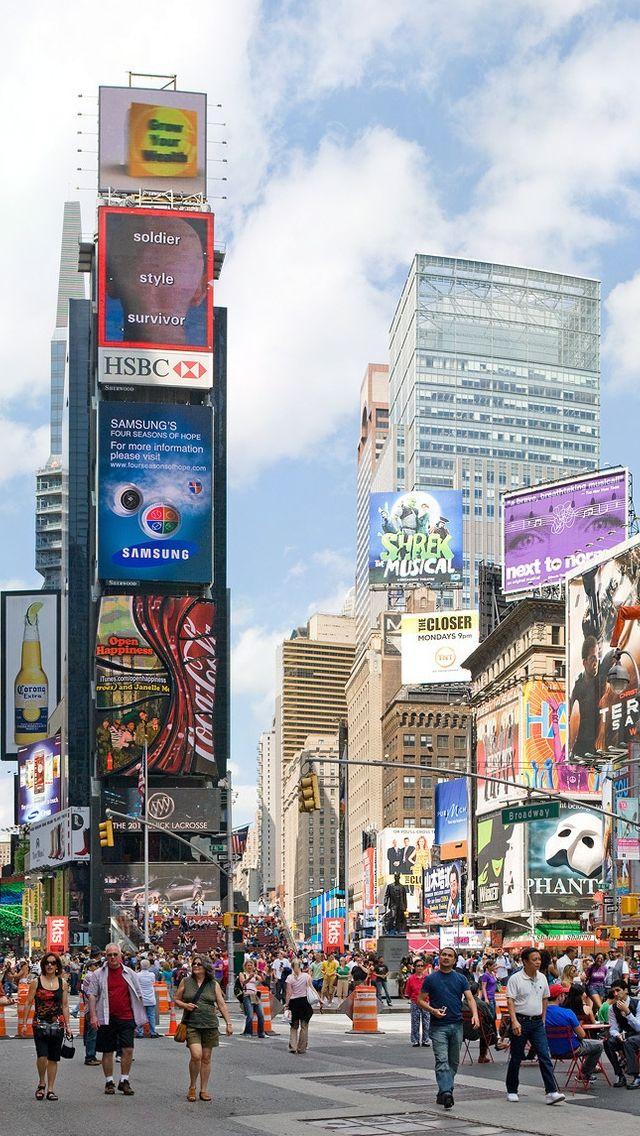 New york city times square manhattan pinterest for Fond ecran cellulaire