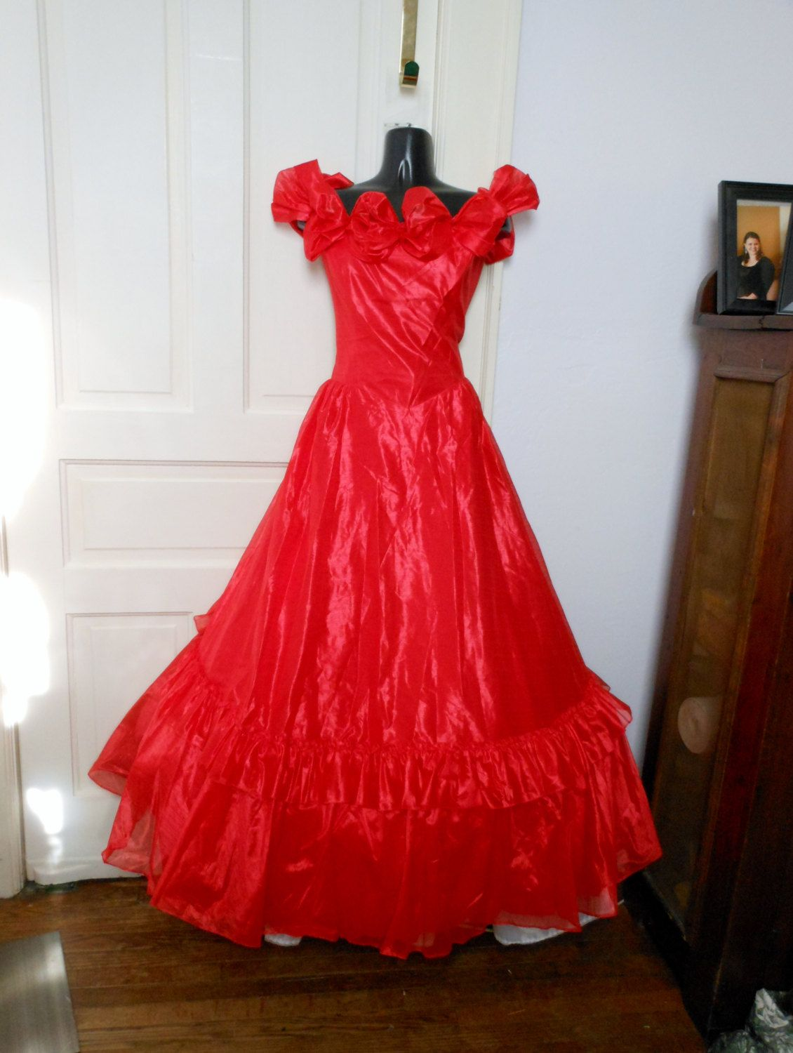 Vintage s prom dress red ruched southern bell off shoulder prom