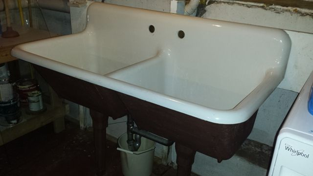 1940 Vintage American Standard Double Basin Porcelain Over Cast Iron Farm House Sink For Sale
