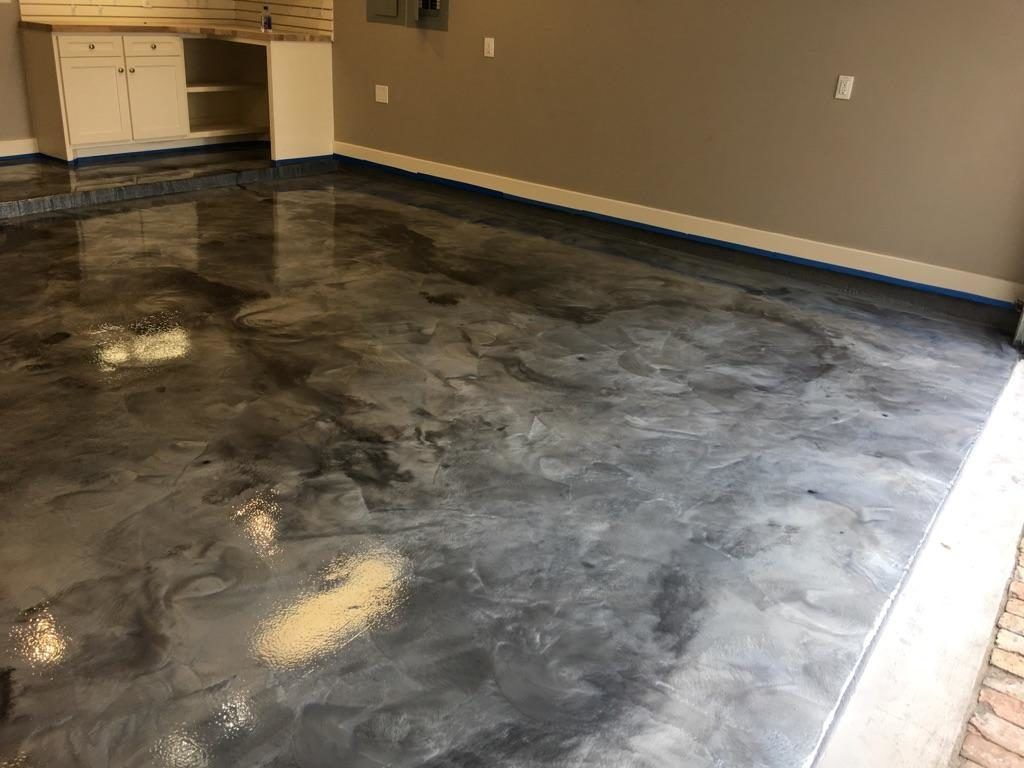 Metallic epoxy garage floor coatings houston epoxy for Concrete floor covering