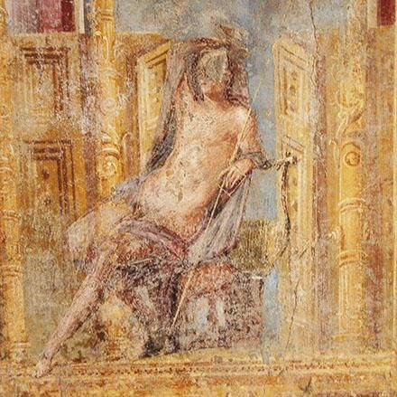 Detail from one of the stunning frescos in the recently re-opened House of Apollo in #Pompeii