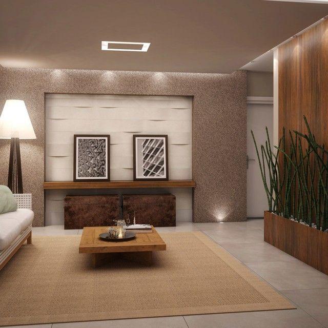 Modernes zeitgenössisches Wohnzimmer-Design mit Wand-Beschaffenheits